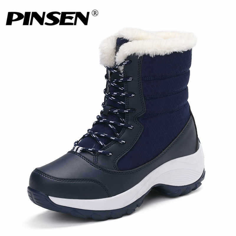 PINSEN 2019 Kış Kadın Kar Botları Orta Buzağı Platform yarım çizmeler Dantel Up Yuvarlak Ayak Düz Kış Sıcak Kürk yarım çizmeler