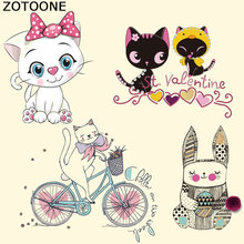 ZOTOONE Iron On Patches For Clothes Lovely Cat Patch A-level Washable Stickers Easy Print By Household Irons heat transfer E