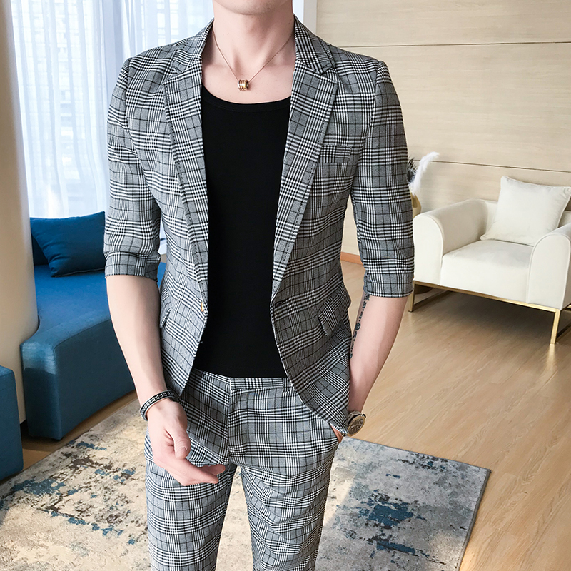 (Tops + pants) 2018 summer new fashion business casual one button houndstooth sleeves suits