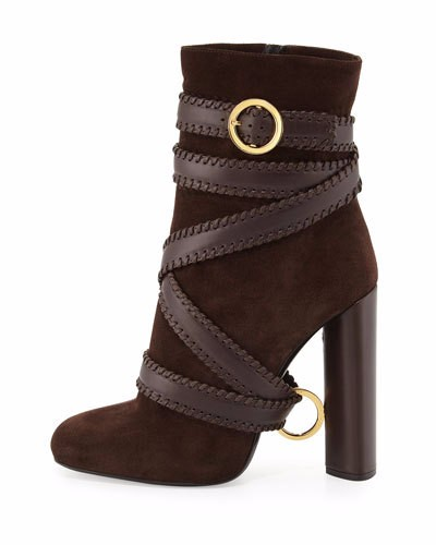 Hot selling woman boots ankle shoes thick heel high heels zipper closure type  keep warm in winter brown color suit to winter
