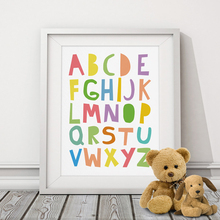 Cartoon ABC Alphabets Canvas Painting Mulit-Colors Typography Nursery Poster Print Wall Art Pictures for Kids Baby Room Decor