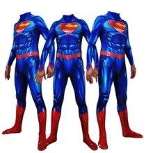New 52 Superman Cosplay costume Superhero Bodysuit 3D Printting Lycra Spandex Zentai Halloween Party suit