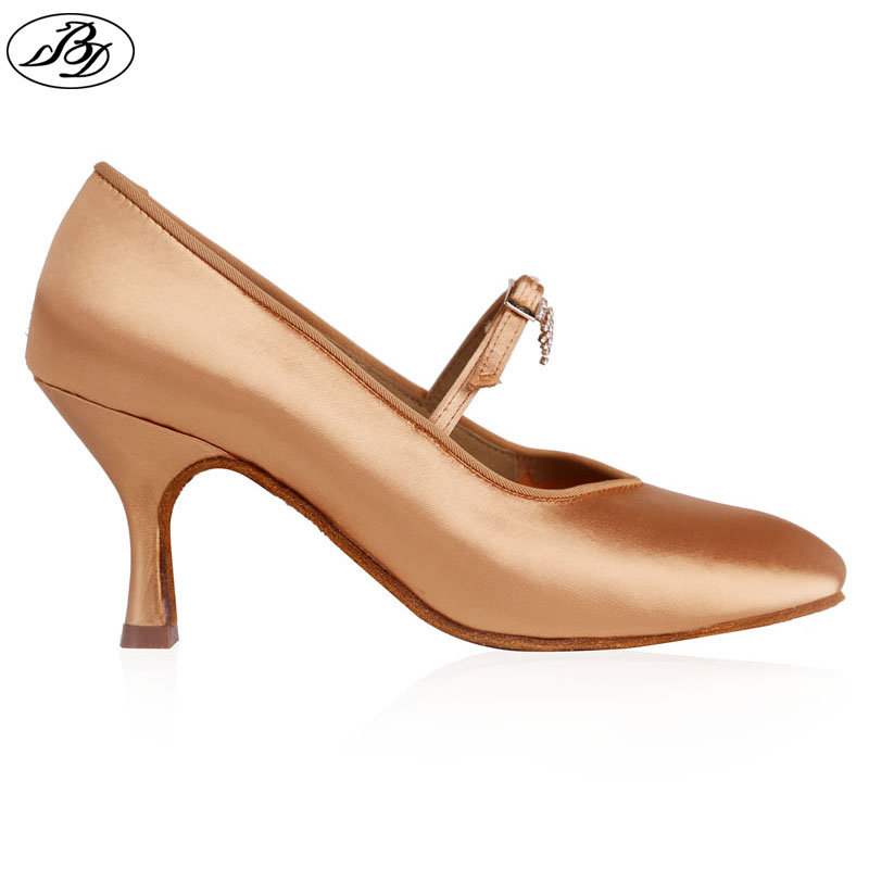 Women Standard Dance Shoes BD Dance139 CRYSTAl Ladies Ballroom Dance Shoe High Heel Tan Satin Rhinestones
