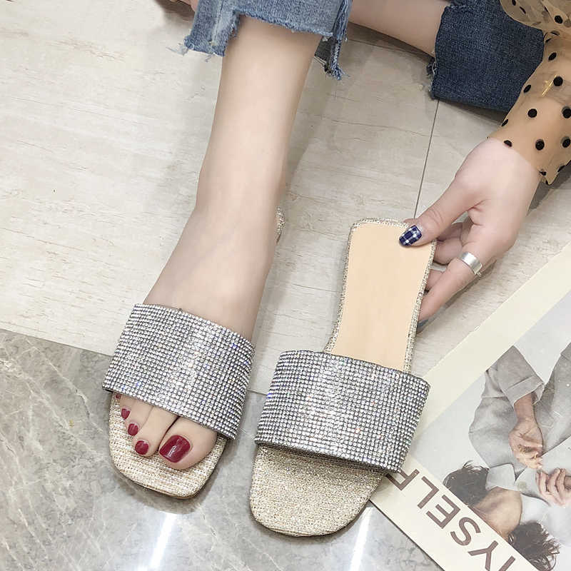HEE GRAND Slippers Shoes Woman Glitters Slides Flip Flops Peep Toe Ladies Summer Shoes Casual Gold Silver Basic Slippers XWT1756