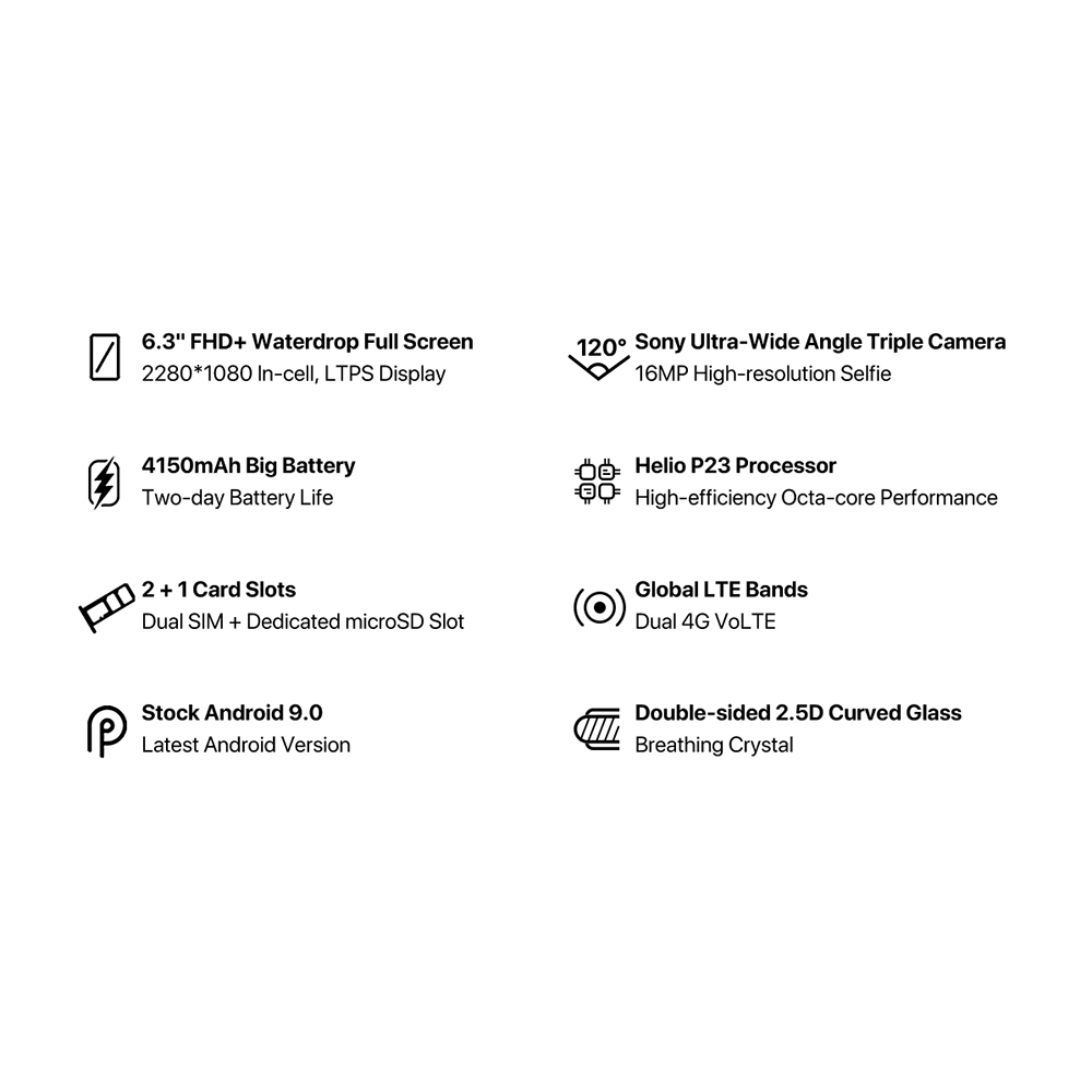 "HTB1meWCeRGw3KVjSZFwq6zQ2FXaS UMIDIGI A5 Pro Android 9.0 Octa-core 6.3"" Mobile Phone 16MP Triple Camera 4150mAh 4+32GB Global LTE 4G Fingerprint Smartphone"