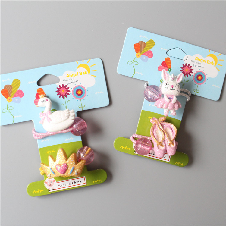 2 PCS New Swan Crown Bunny Dance Shoes Elastic Hair Band Baby Headwear Girls Hair Accessories Tie Hair Ropes Children Headdress