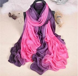 Image 4 - Fashion  Luxury gradient scarves  Soft linen silk plain shawls hijab spring big size spring muslim headband wrap scarves