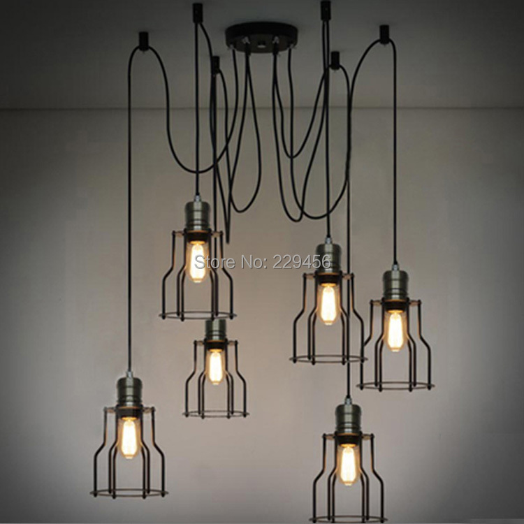 Loft Industrial Vintage Edison Bulb Pendant Light Living Room Bedroom Metal Frame Lamparas Lustre E27 110