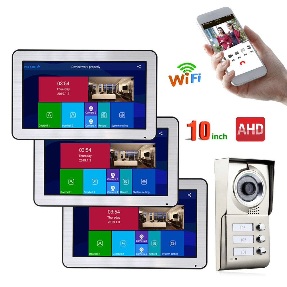 Wired Video Intercom Systems 3 Apartments 10 Inch Wifi Video Door Phone System IR-CUT HD 720P Doorbell Camera