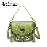2017 New Fashion Women Handbags High Quality Crocodile Pattern Genuine Leather Tote Handbag Ladies Tassel Messenger