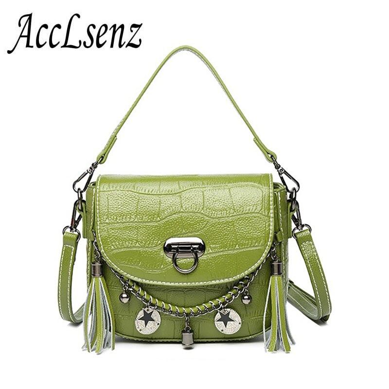 2017 New Fashion Women Handbags High Quality Crocodile Pattern Genuine Leather Tote Handbag Ladies Tassel Messenger Bags Women S high quality women s handbags
