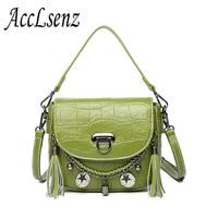 2018 New Fashion Women Handbags High Quality Crocodile Pattern Genuine Leather Tote Handbag Ladies Tassel Messenger
