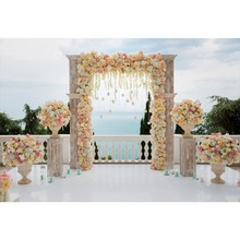 Laeacco  Outdoor Wedding Ceremony Arch Flowers Scenic Photography Backgrounds Customized Photographic Backdrops For Photo Studio
