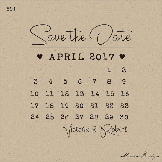 DIY Calendar Stamp Customized Save The Date Wedding Favor Stamps Personalized Rubber 3x25 Inch