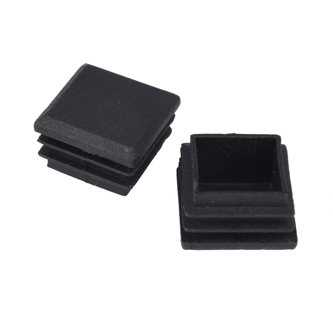 цена на 10 Pcs Black Plastic Square Tube Inserts End Blanking Cap 25mm x 25mm