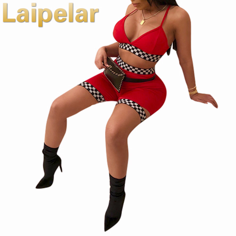 Laipelar Sexy Two Piece Set Summer Outfits Crop Top And Pants Checkerboard Short Sets For Women Tracksuits Club Wear Outwear