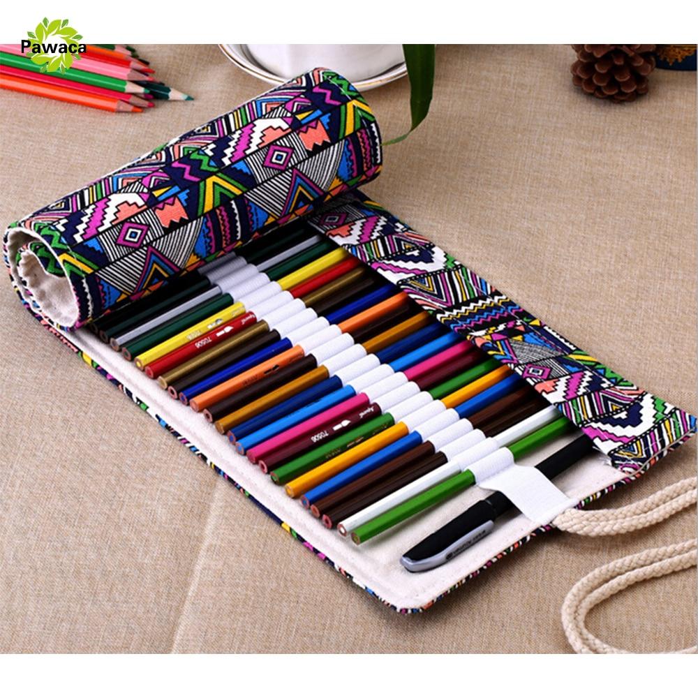 36/48/72 Estojo Escolar Grande Canvas Roll Pencil Case School Supplies Stationery School Etui Pencilcase Pencil Bags Easy To Use Smart 1pc/sell