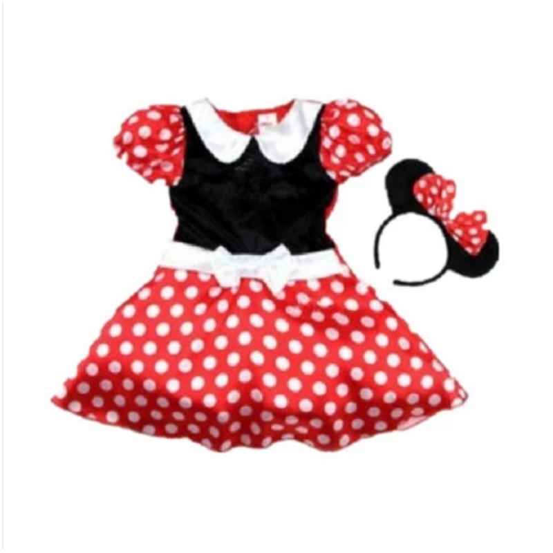 Sweet Red Dot Christmas Mickey Cosplay Girls One-piece Dress Children Sundress Kid Cute Performance Ballet Dance Costume