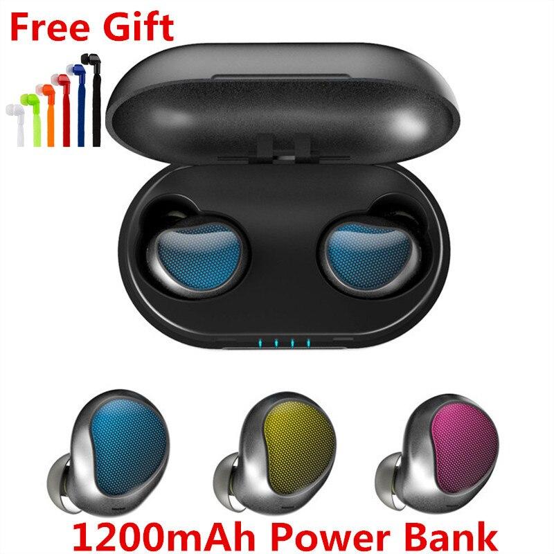 Cápsula inalámbrica TWS auriculares con micrófono Bluetooth V5.0 auriculares estéreo deporte auriculares con caja de batería Binaural HD