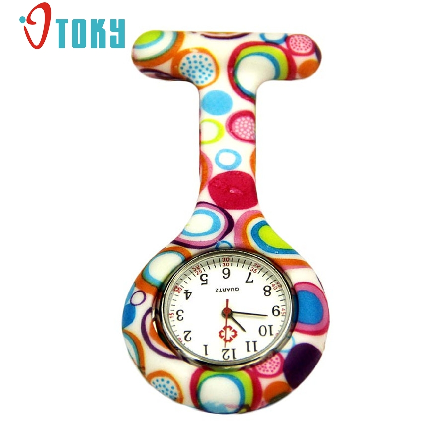 OTOKY Colored Circles Nurse Clip-on Fob Brooch Pendant Hanging Pocket Watch For women Quartz Watches #20 Gift 1 pcs цена и фото