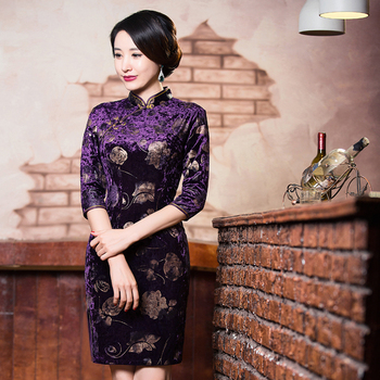 Free Shipping Vintage qipao dress Handcraft Chinese Dress Floral Blend Silk Cheong-sam Qipao Dress Purple Cheongsam Autumn 311 Платье