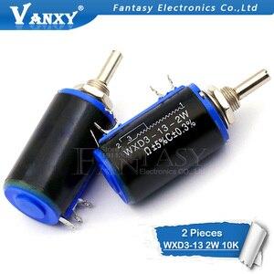 2PCS WXD3-13-2W 10K ohm WXD3-13 2W Rotary side Rotary Multiturn Wirewound Potentiometer(China)