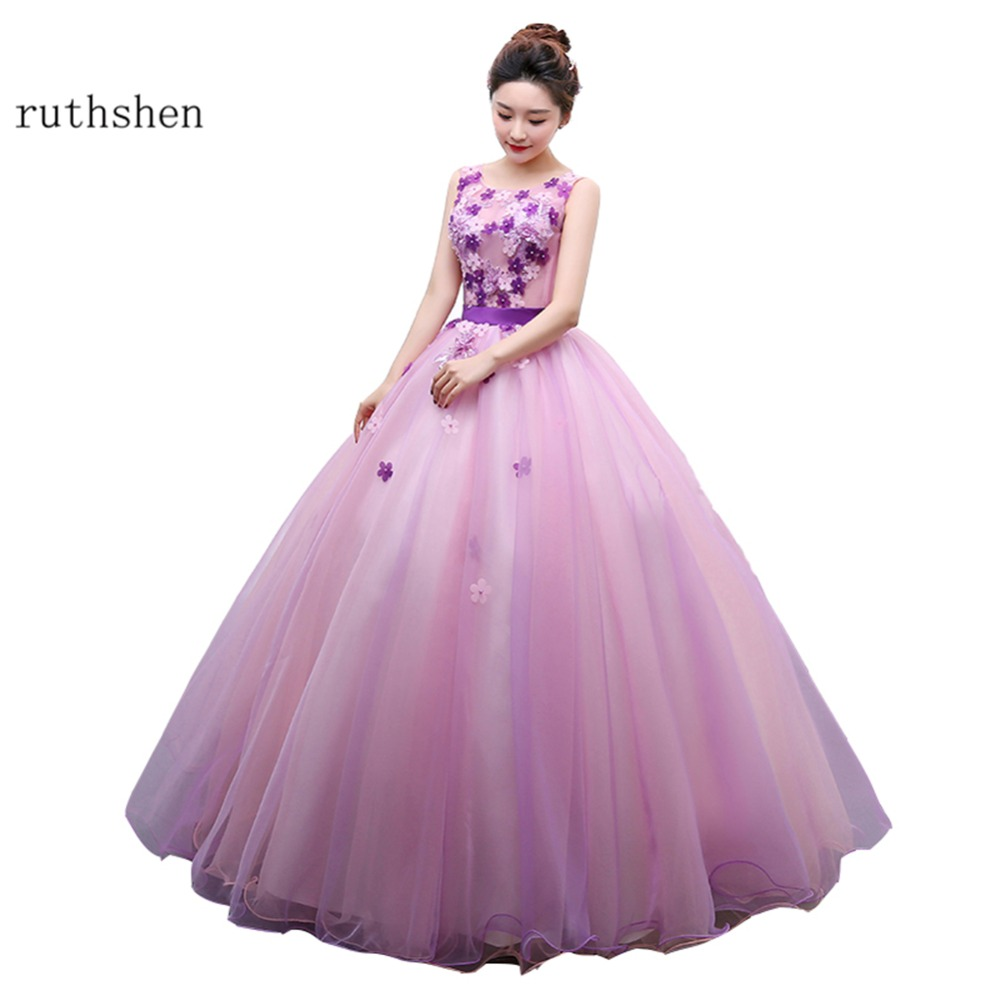 ruthshen 2018 New   Prom     Dresses   Cheap Real Photo Long Evening Gowns Sweet 16 Teens Party   Dress   Purple Vestidos De Debutante