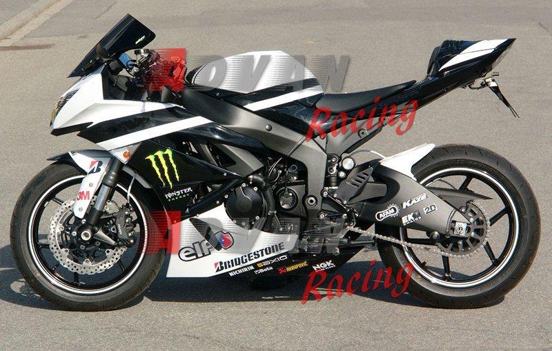 24 Custom Painted White Black Fairing Kawasaki Ninja Zx6r Fairings