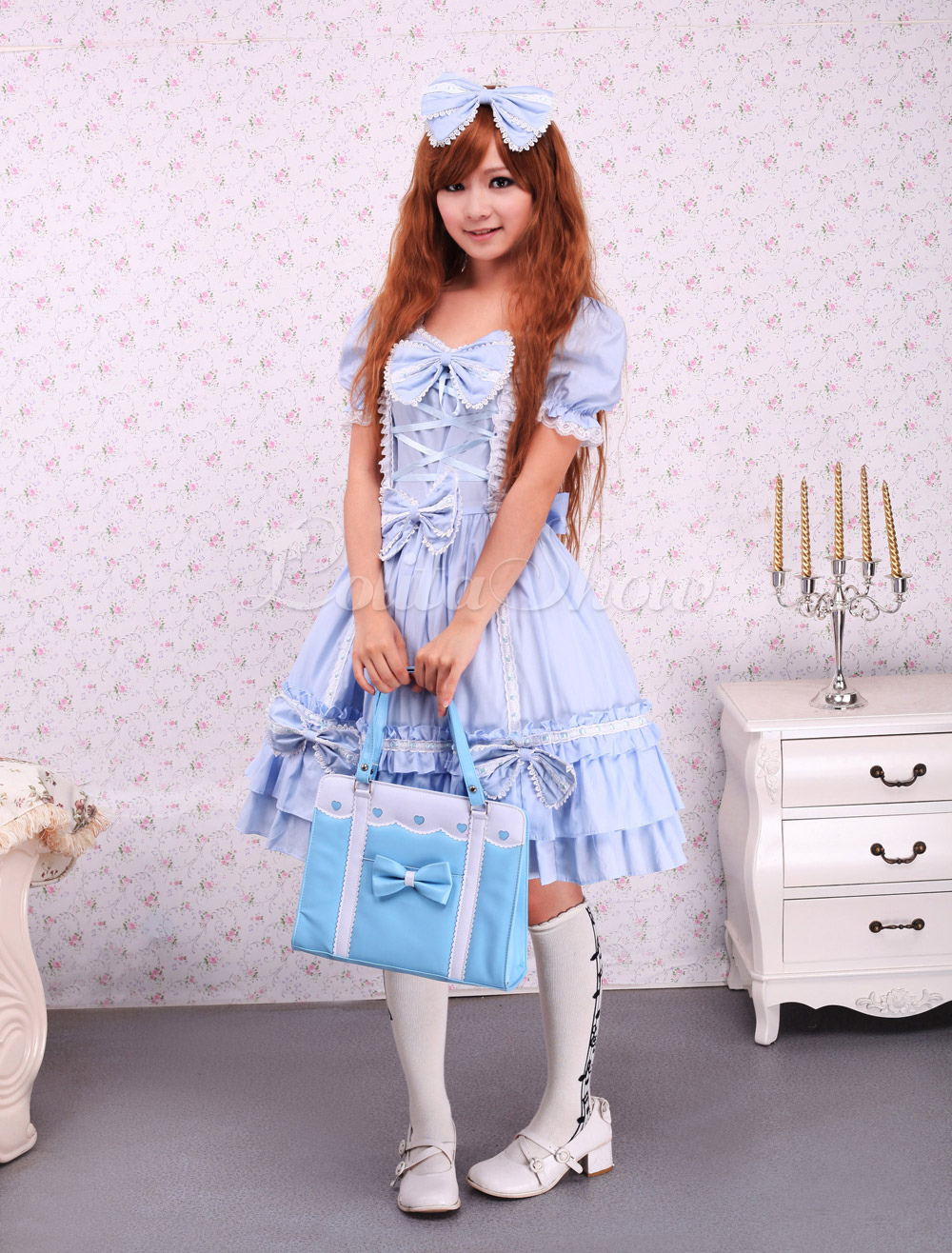 Free Shipping Cotton Blue Cape Sweet Lolita Dress Cosplay Costume