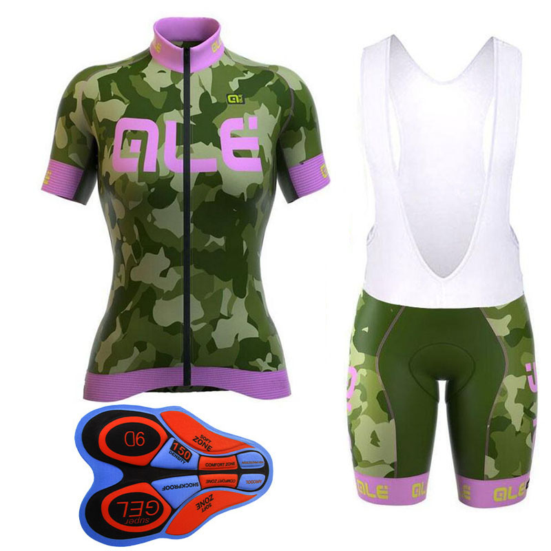 ALE 2018 Camo Women cycling jersey set Breathable Bike Wear Ropa Ciclismo Bicicletas Short Sleeve Cycling Clothing Fast drying