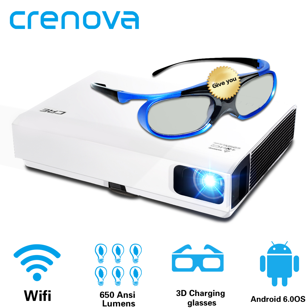 CRENOVA 2019 Più Nuovo Proiettore Laser Per Il Full HD 1080P Home Theater Movie Android Proiettore DLP HD 720P WIFI bluetooth Beamer