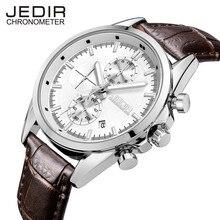 Топ Мужчины Часы Люксовый Бренд JEDIR Функция Хронографа Мужчины Повседневная Кварцевые Часы Мужчины Натуральная Кожа Смотреть Relogio Masculino 5005