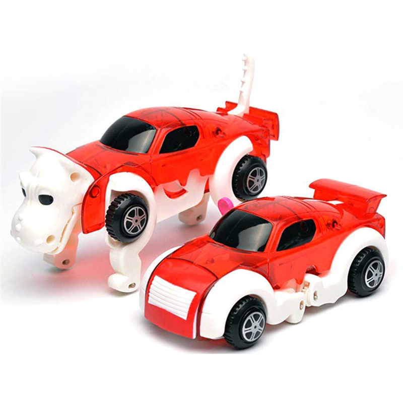 14CM Cool Automatic Transform Dog Car Vehicle Clockwork Wind Up Toys for Children Kids G ...