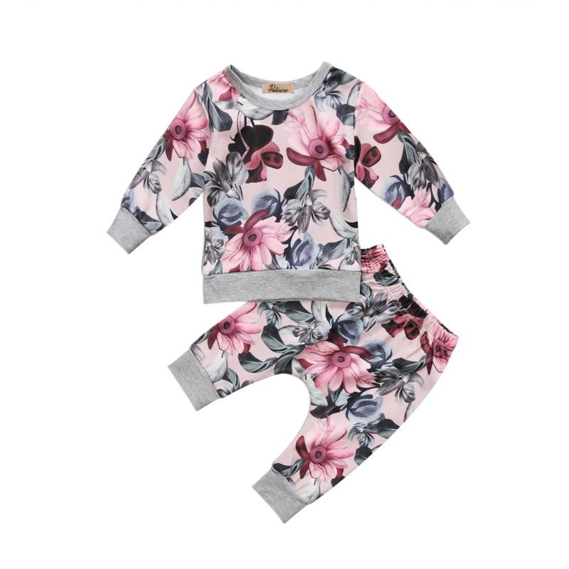 2PCS Toddler Kids Baby Girls Floral Autumn Clothing Sets Cotton Long Sleeve T-shirt Pants Leggings Infant Outfits Clothes Set