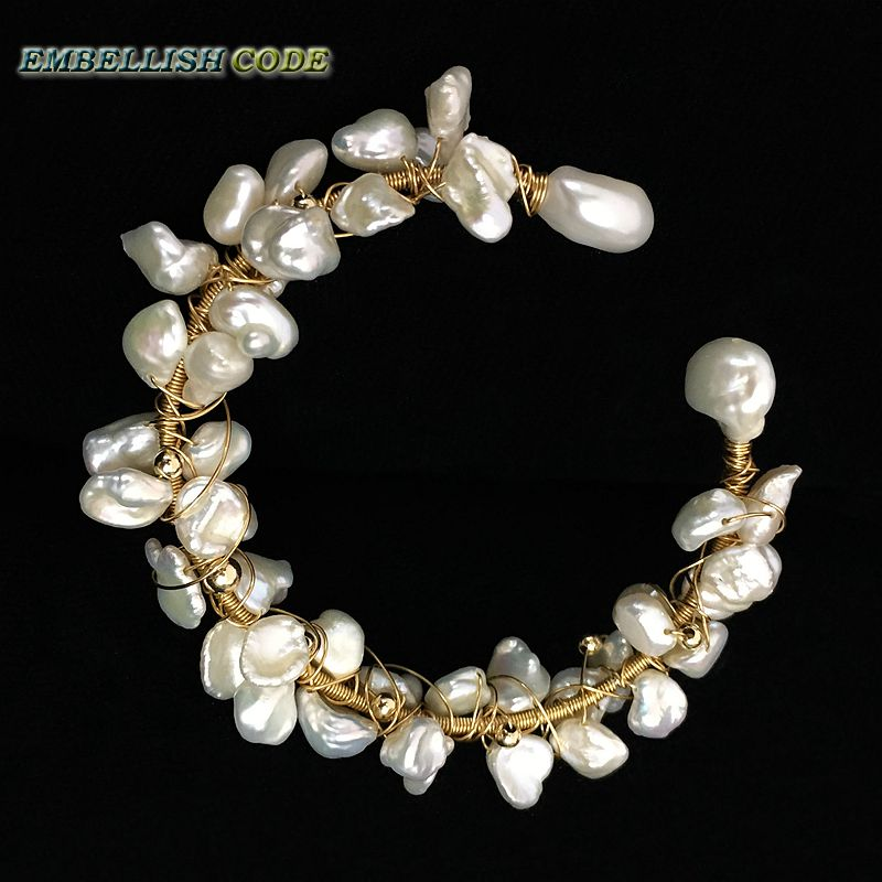 NEW by mySelf innovate design Garland bangle gold with pearls hand made crafted baroque pearl bracelet Designer pieces for girl