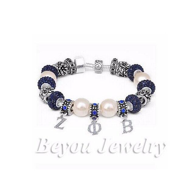 Rhinestone ZETA PHI BETA letter Sorority Bracelet ZPB charm bead bracelet bangle