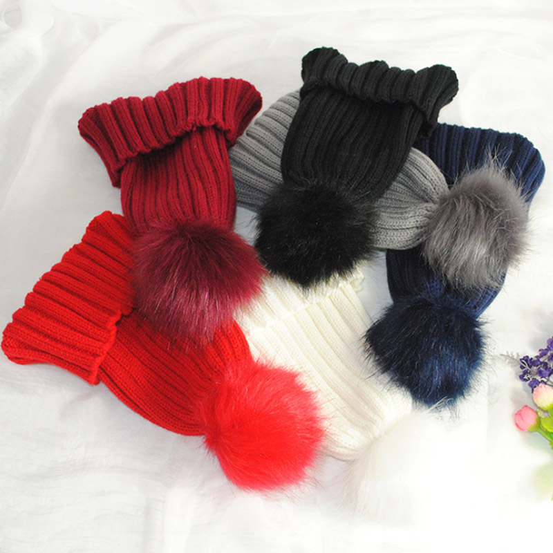 New Fashion Unisex Solid Color Women Faux Fur Ball Cap Pom Poms Winter Beanies Hat Knitted Warm Caps LB