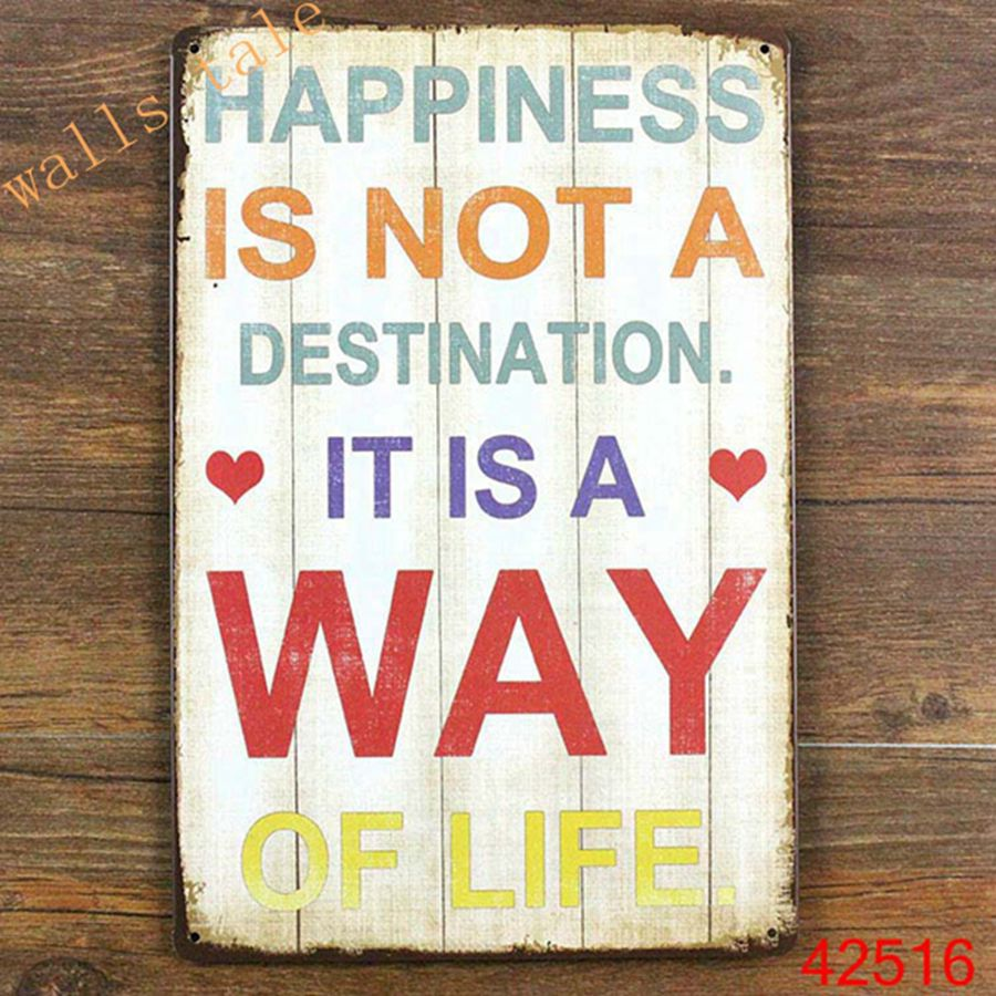 Metal wall art vintage home decor life quote metal tin for Home decor quotes signs