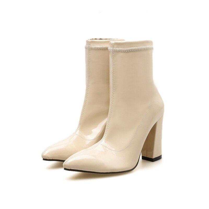 Herbst Frauen England White Stiefel Schuhe Leder Marke blue black Spitz Damen Stil High 2019 Neue Sexy Reiten Qualität Frühling Heel Hohe qvUEY
