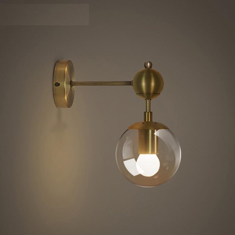 ФОТО Lamp american style modern brief fashion vintage bedside lamp gold plated magic bean wall lamp
