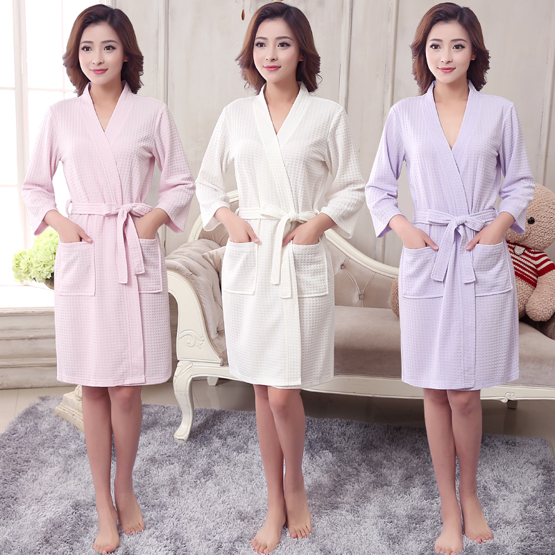 1e1ae0cb630 New Women Summer Towel Kimono Bath Robe Bridesmaid Robes Femme Sexy Waffle  Bathrobe Dressing Gown Bride Wedding Peignoir