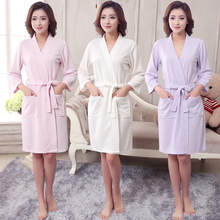 New Women Summer  Towel Kimono Bath Robe Bridesmaid Robes Femme Sexy Waffle Bathrobe Dressing Gown Bride Wedding Peignoir