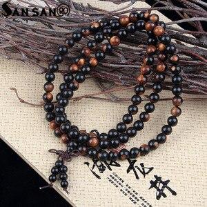 Image 3 - Religious Jewelry Sandalwood Buddhist Buddha 108 Prayer Bead Wooden Bracelet Woman Men Meditation Mala Bangle Jewelry 8mm Beads