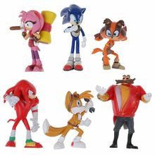6PCS SONIC the Hedgehog Action Figures Doll Set Kids Toys Boys Girls Xmas Gifts SET Cake Topper Decor
