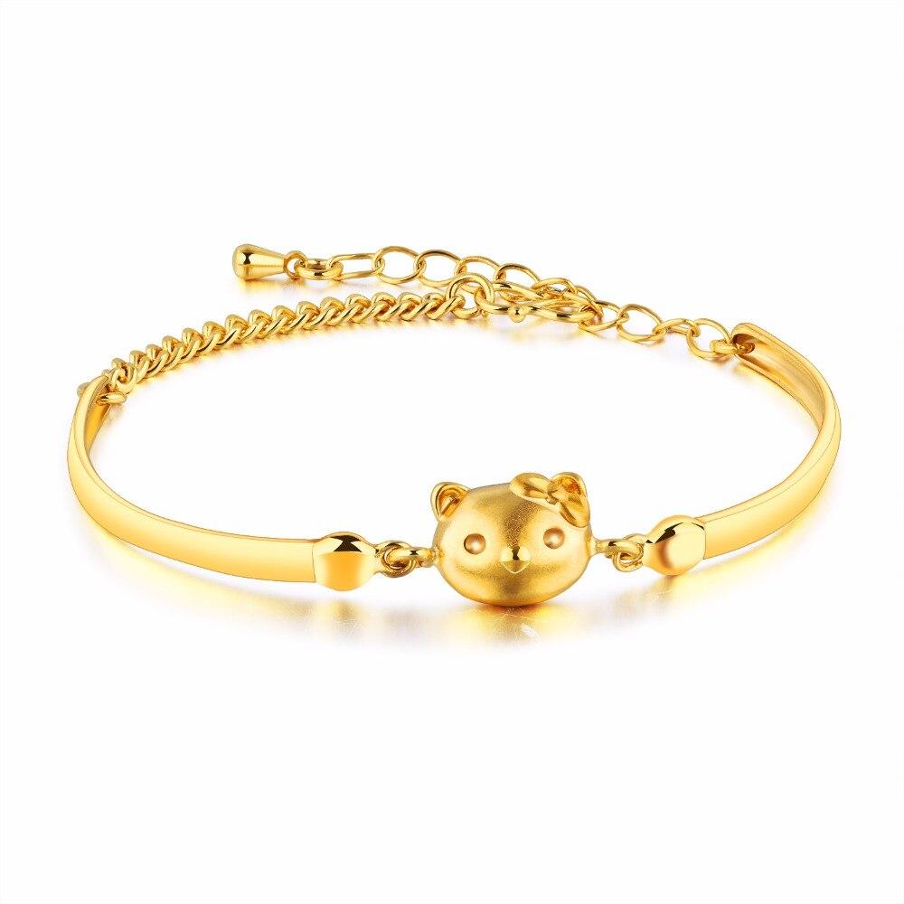 Рисунок «Hello Kitty» Kitty Медный Браслет Позолота Украшений Южнокорейская версия Золотая монета браслет
