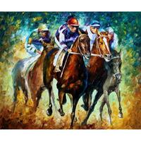 Palette knife oil painting on canvas riders modern wall art horse pictures home decoration