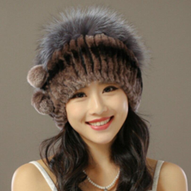 2016 Winter Knitted Hat real Fur Beanies Headgear For Women With Rabbit Fur Luxury Ball Flower Cap Women's Customized Hat Beanie