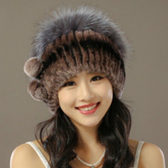 2016 de Invierno de Punto Gorros sombrero Sombrero de Piel real Para Las Mujeres con Piel De Conejo Bola de La Flor de Lujo Personalizado Sombrero Del Casquillo de Las Mujeres Beanie