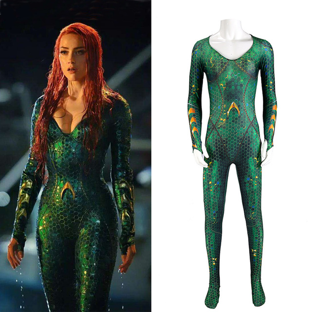Movie Aquaman Quinn Mera Jumpsuit Cosplay Costume Women Superhero Printing Bodysuit Zentai Tight Catsuit Christmas Queen Costume