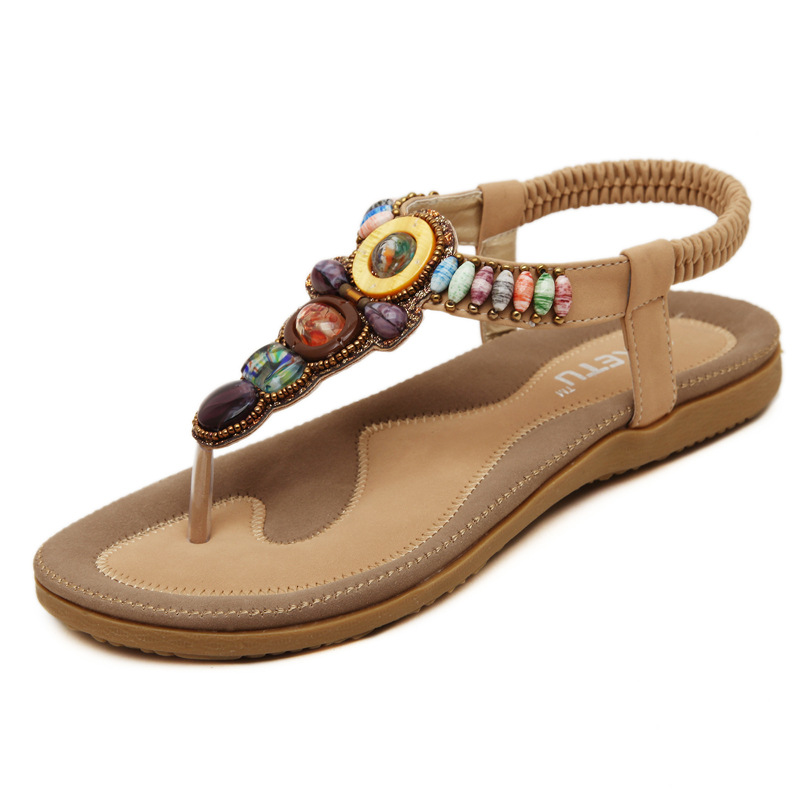 SIKETU 4 Color String Beading Back Strap Lady Sandals 2017 Summer Holiday Beach Vacation Female Shoes Women Soft Cool Fashion